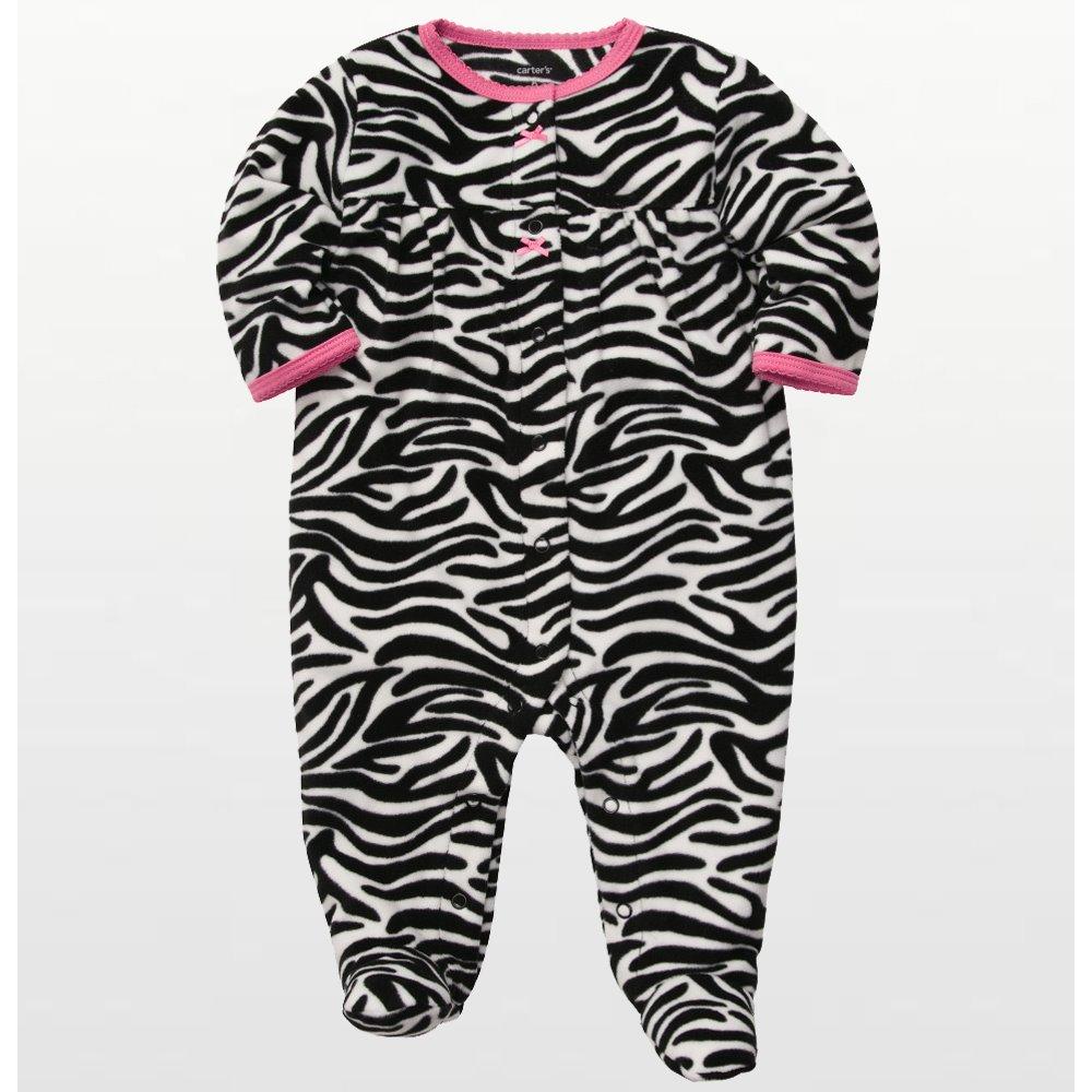 Carters - Girls Zebra Print Microfleece Onesie Pyjamas