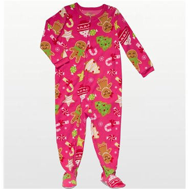 Carters - Girls Gingerbread Microfleece Onesie Pyjamas