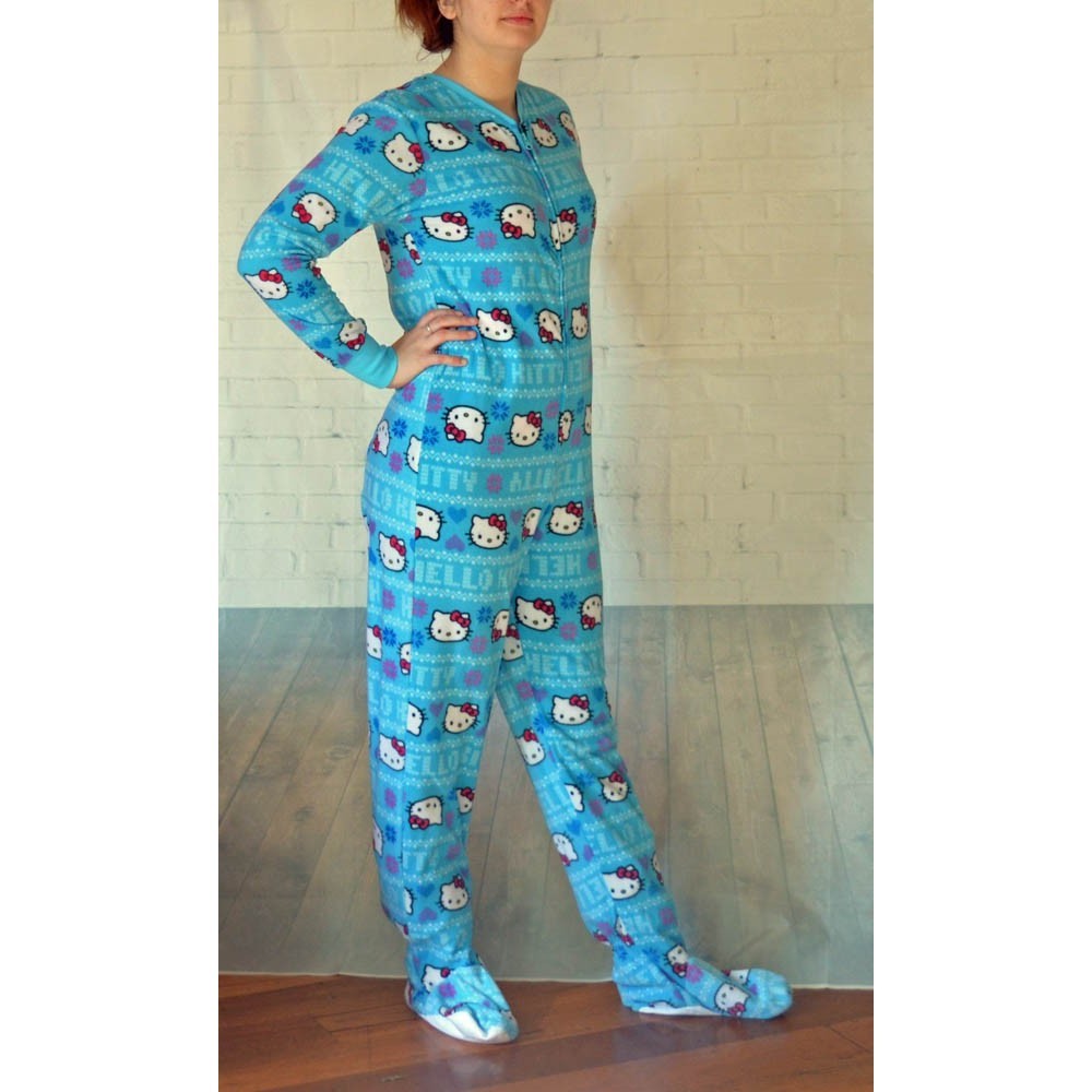 Hello Kitty - Blue Fleece Footed Onesie Pyjamas