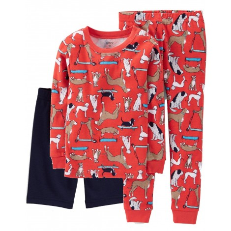 Carters - Boys Cotton Dogs 3 piece Pjs