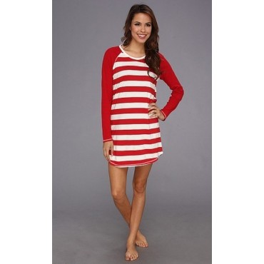 TOMMY HILFIGER - Women's Red RUGBY STRIPE  NIGHT SHIRT