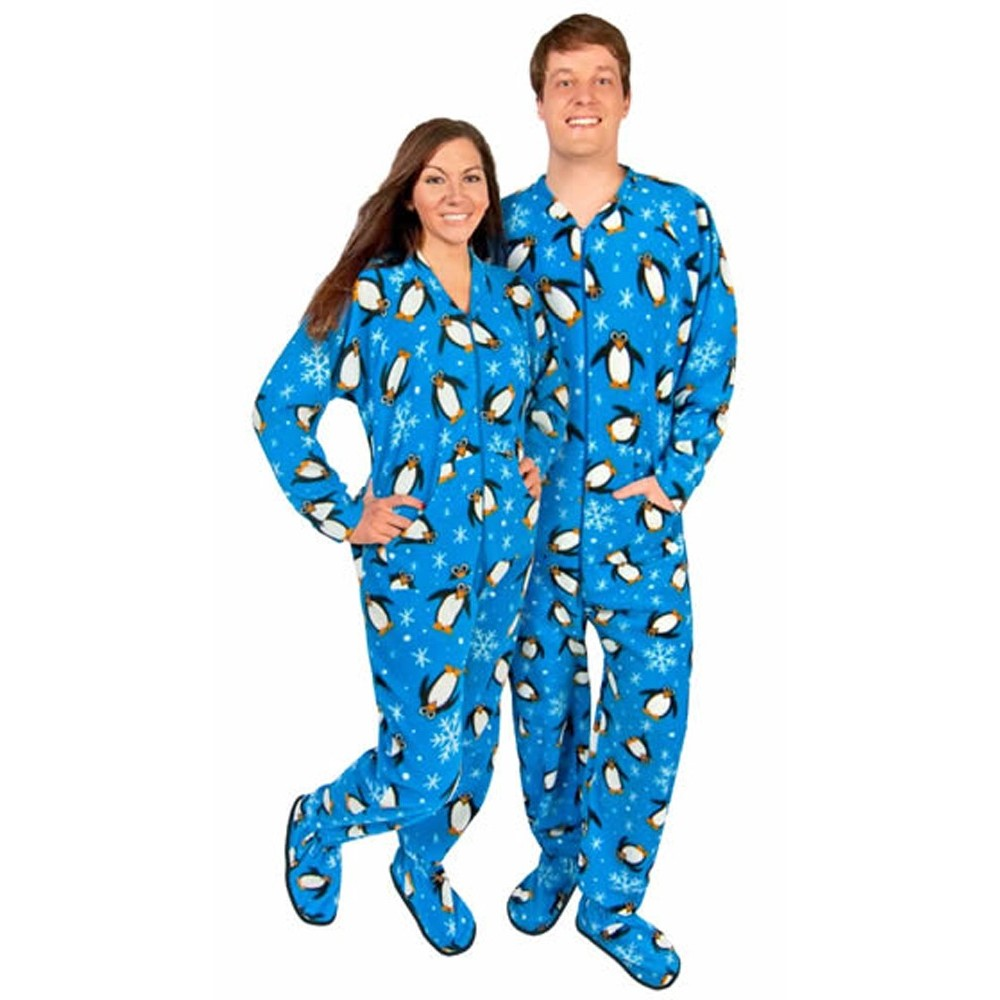 Adult - Fleece Onesie - Blue Penguin Print with Drop Seat