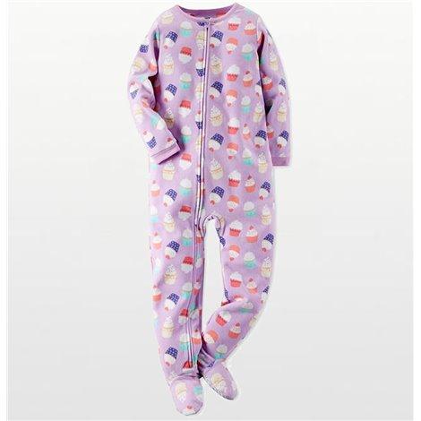 Carters - Girls Mauve Cupcake Microfleece Onesie Pyjamas
