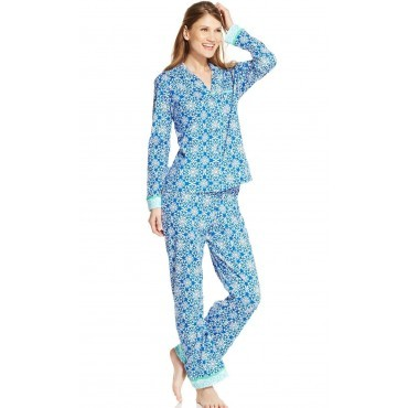 Womens  Blue Jewel - 2 piece Jersey Pyjama Set