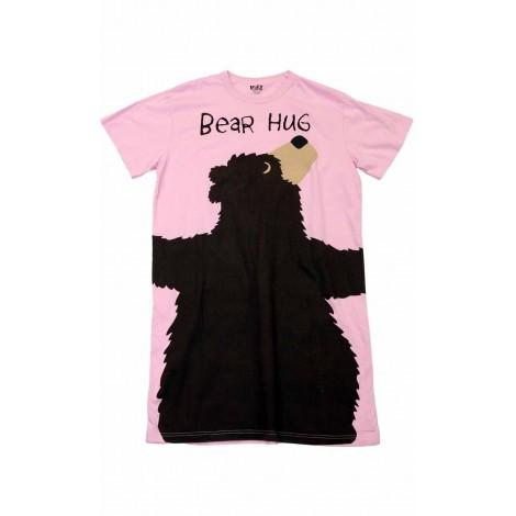 Womens - Pink Bear Hug Nightshirt 100% Cotton - Plus