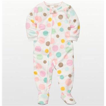 Carters - Girls Spotted Bubblegum Microfleece Onesie Pyjamas
