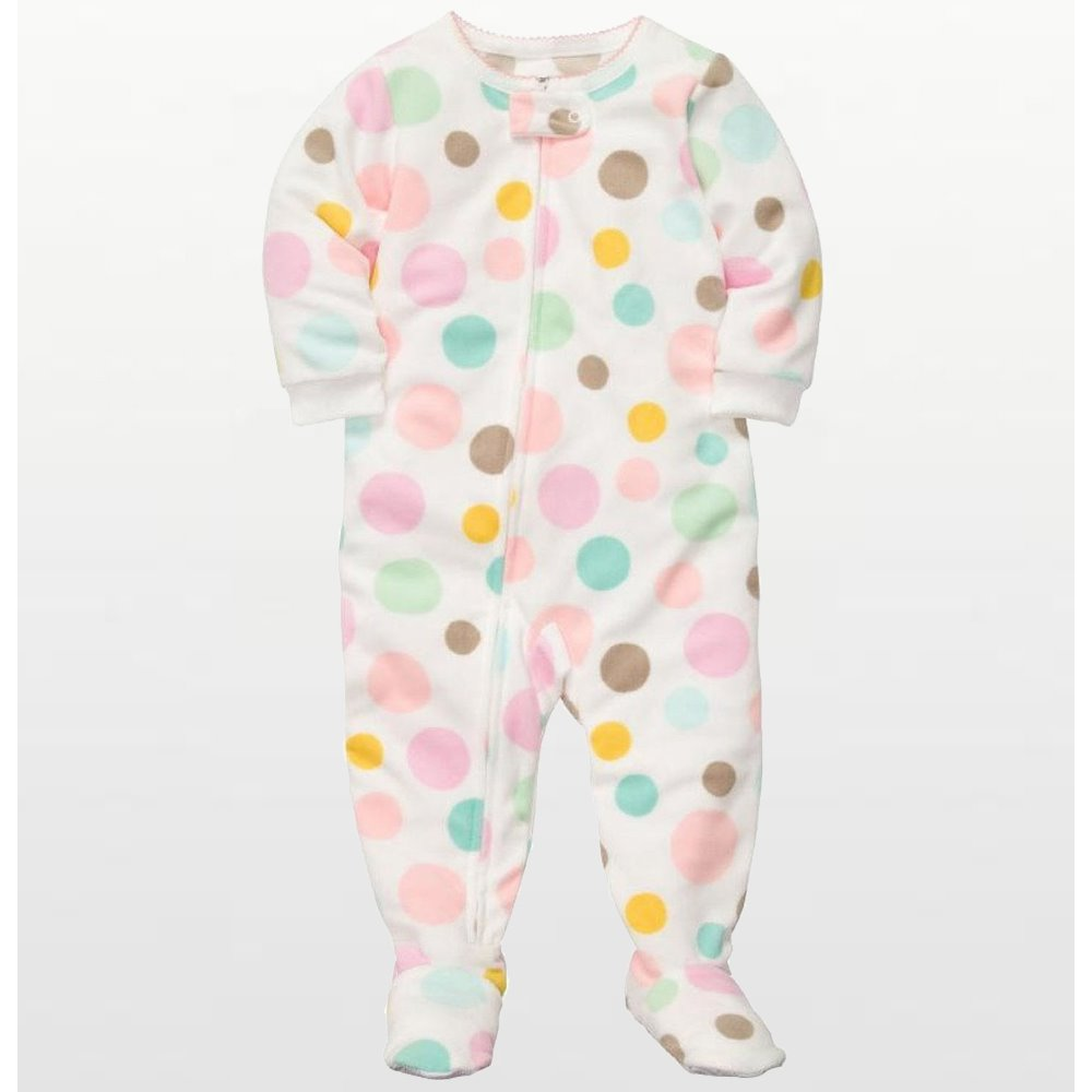 Carters - Girls Spotted Bubblegum Microfleece Onesie Pyjamas