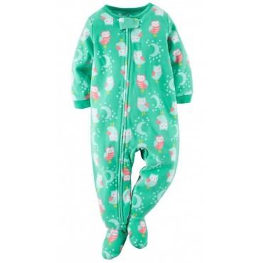 Carters - Girls Green Owls Microfleece Onesie Pyjamas