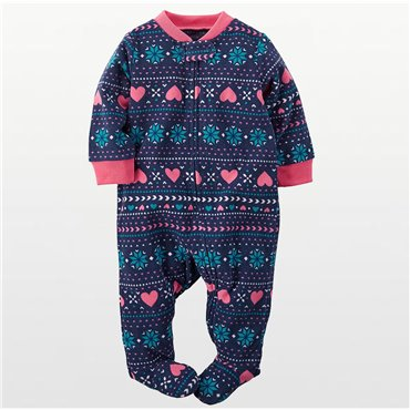 Carters - Girls Blue Winter Print  Microfleece Onesie Pyjamas