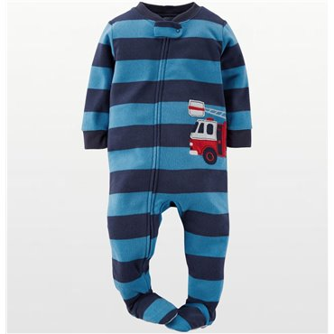 Carters - Boys Blue Stripe Fire Truck Microfleece Onesie Pyjamas