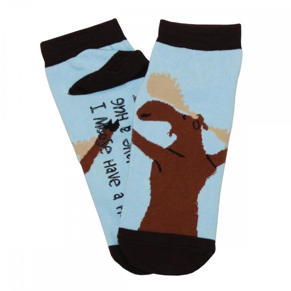 Womens - Slipper Socks  - Moose Hug Design