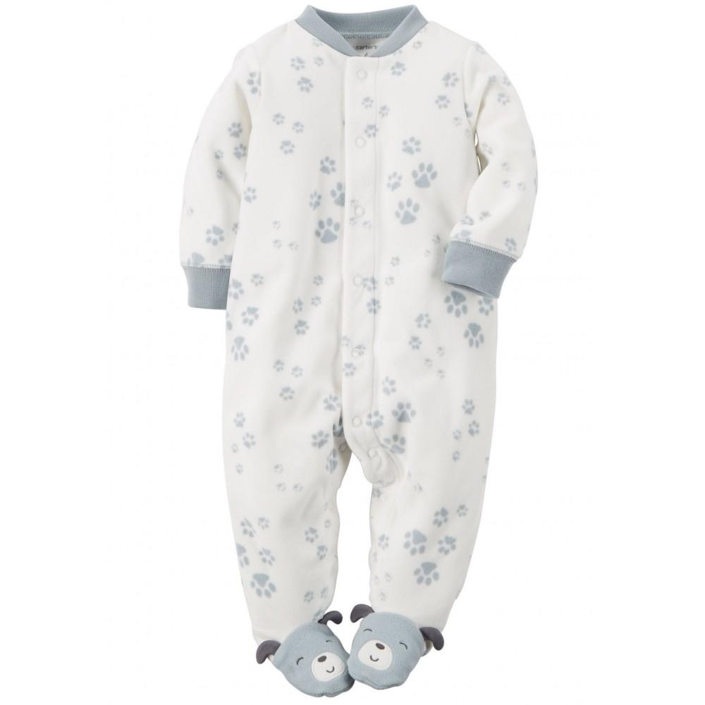 Carters - Baby Boy Microfleece Onesie Pyjamas with Paw Prints