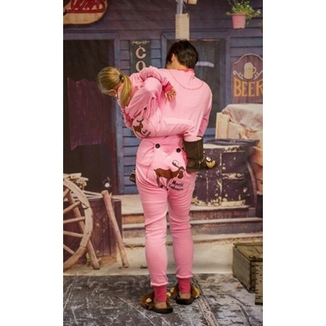 "Adult - Pink ""Want to Moose Around"" Onesie Cotton Pj's"