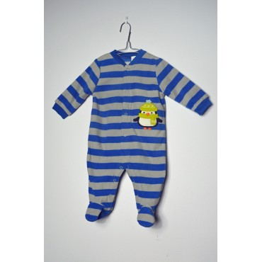 Child of Mine by Carters - Boys Stripe Penguin Microfleece Onesie Pyjamas