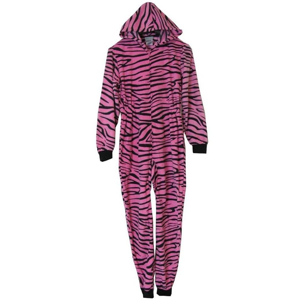 Girls - Pink Zebra Hooded Fleece Onesie with Booties