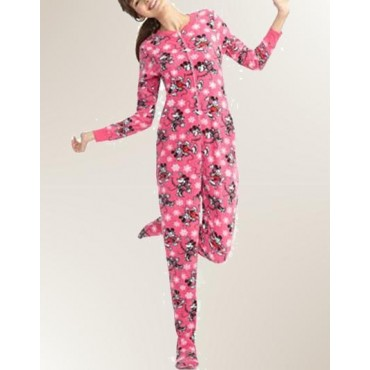 Fleece Footed Pyjamas for Teenages - Pink Minnie Mouse