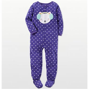 Carters - Girls Purple Spotted Bear Face Microfleece Onesie Pyjamas