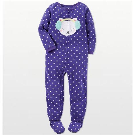 Carters - Girls Purple Spotted Bear Face Microfleece Onesie Pyjamas