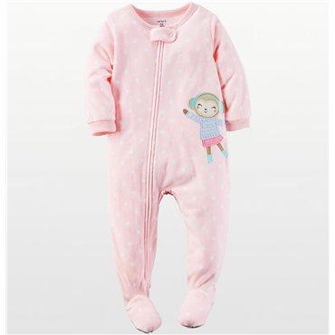 Carters - Girls Pale Pink Spotted Microfleece Onesie Pyjamas